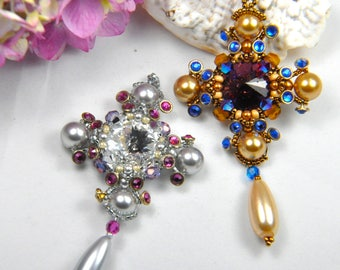 "Beadweaving kit (all beads and printed photo tutorial) ""Southern Cross"" medallion pendant"