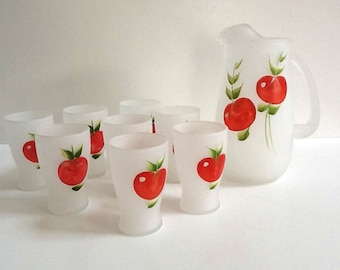 Mid Century Hazel Atlas Pitcher Set,  34 Fluid Ounce Pitcher & 8 Frosted Glasses, Hand Painted Tomato Design