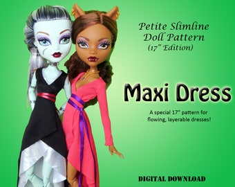 "Hi-low wrap maxi dress doll clothes pattern for 17"" Petite Slimline Fashion High girl: Gooliope, Frightfully Tall Monster, Ever After Maddie"