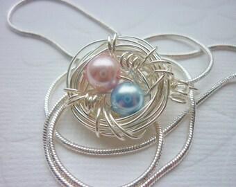 Vögel nisten Halskette Zwillinge - ideal für Mütter Mama Perlen personalisiert