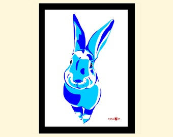 Rabbit Art Print, Bunny Wall Art, Art Print, Home Living, A4 Prints, Wall Decor, Modern and Contemporary, Animal Art Print, Blue, black