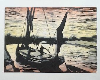 Cygnet Gliding Home - hand printed woodcut of sailing barge Cygnet
