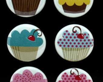 CLEARANCE - Whimsical Cupcake Magnet Set of 6