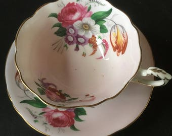 Elegant & Beautiful Pink Paragon Large Rose and Tulip Bouquet Cup and Saucer