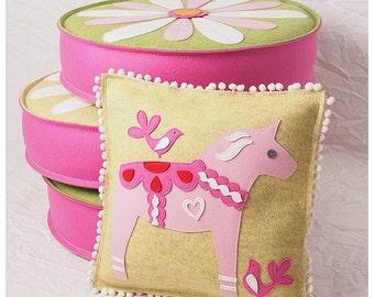 Swedish Dala Horse Pillow in Yellow & Pink Wool Felt, Pink Horse Pillow, Scandinavian Pillow