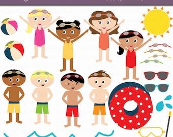 Pool Party Kids Digital Art Set Clipart Commercial Use Clip Art INSTANT Download Swim Clipart Pool Party Clipart