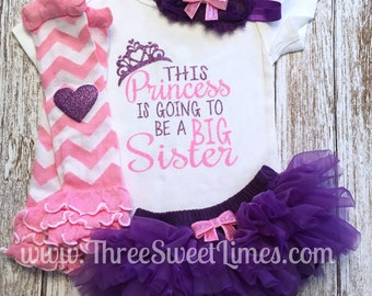 This Princess is Going to be a Big Sister | Baby Girl Announcement Outfit Promoted to Big Sister Purple and Pink Glitter | New Sister Outfit