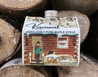 16.9 oz Organic Pure Vermont Maple Syrup Amber Rich Log Cabin Tin