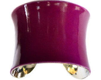 Violet Patent Lambskin Leather Cuff Bracelet - by UNEARTHED