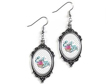 Eat Me Cupcake Polka Dot 18x25mm Cameo Glass Silver Filigree Earrings