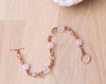 Bracelet en cuivre - Pierre de quartz Rose et bracelet perle rose cuivre | Bijoux en cuivre | Rose quartz rose bijoux | Fil enroulé liens