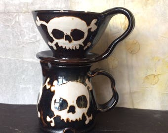 Skull Coffee Pour Over Filter Set, Bronze Skull & Crossbones Ceramic Pour Over Coffee Maker and Pitcher Set