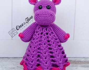 Pip the Hippo Lovey / Security Blanket - PDF Crochet Pattern - Instant Download - Blankie Baby Blanket