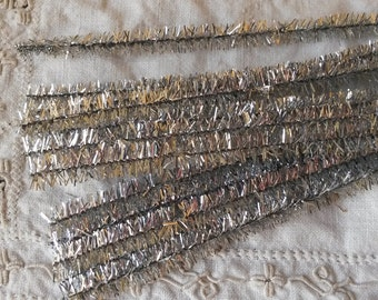 Silver Tinsel Stems trims wired 15 pieces 9mm 12in Craft supplies for Christmas pipe cleaners bling supplies sparkeley trim Kids Crafts
