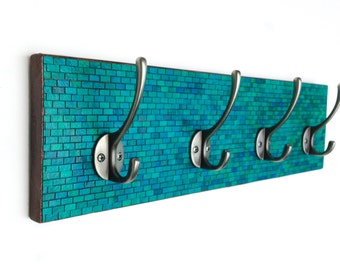 Wall Coat Rack Handmade Paper Green Blue Teal Mosaic Subway Striped Tiles Recycled Wood
