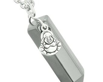 Happy Laughing Buddha Magic Powers Amulet Crystal Point Pendant Hematite 18 inch Necklace