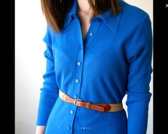 70s blue knit dress M