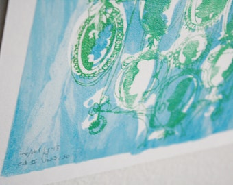 CAMEOS #150 | handmade silkscreen art print in sparkly green and shimmery blue by Kathryn DiLego (8x10)