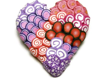 Textured Canework Heart Polymer Clay Pin Handmade Brooch Art Jewelry Spirals Stars Red Pink Purple Love Valentine's Day