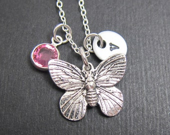 Butterfly Silver Necklace - Personalized Initial Name, Customized Swarovski crystal birthstone