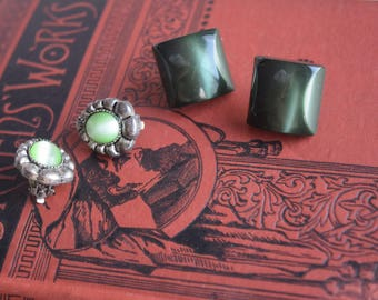 St. Patrick's Day Green Earrings,  Pierced and Clip On Earring Lot, Jewelry gift for her
