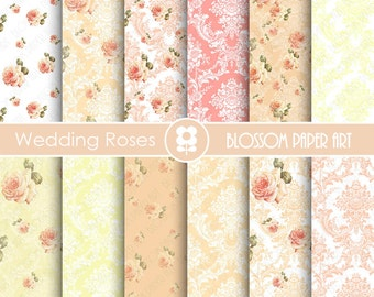 Wedding Digital Paper, Wedding Roses Digital Paper Pack, Pink Damask Wedding Scrapbooking, Pink Roses- INSTANT DOWNLOAD  - 1813