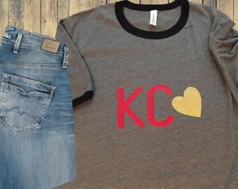 Kansas City Love Heart T-Shirt - Sparkle/Glitter!!