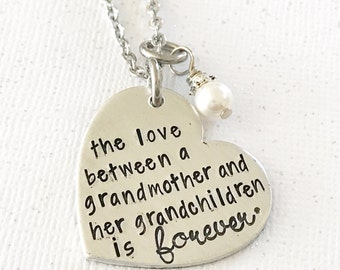Gift for grandmother - grandmother necklace - hand stamped necklace - gift from grandchildren - hand stamped jewelry - grandmother's love