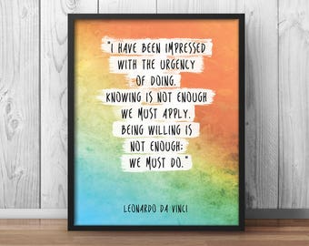 "Leonardo Da Vinci Quote ""Urgency of doing"" Motivational Poster Office Decor Office Motivation Inspirational Print Watercolor Work - 044"