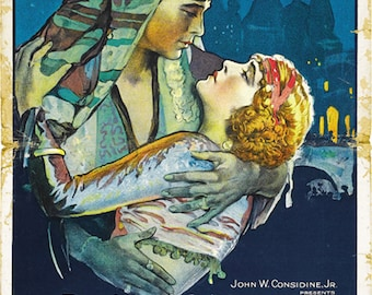 The son of the Sheik 1926 Rudolph Valentino movie poster reprint 19x12.5 inches