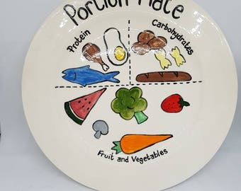 Portion Control Plate Hand painted can be fully personalised slimming world, weight watchets, diet