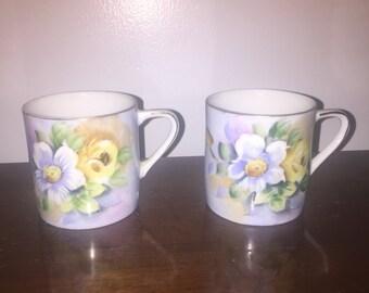 2 vintage Lefton China teacups mugs cups