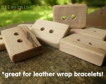 Wooden Buttons - Wood Buttons - Artisan Buttons - Handmade Wood Buttons - Rectangular Buttons - Square Buttons - Wrap Bracelet Button