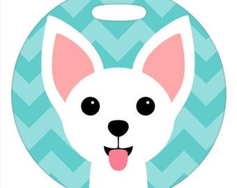 Luggage Tag - Chihuahua White - Round Plastic Bag Tag