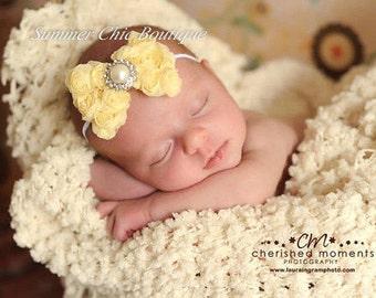 Baby Headband, Shabby Chic Headband, Infant Headband, Newborn Headband, Light Yellow Rosette Bow on skinny elastic