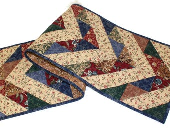 Quilted Table Runner, Civil War Reproduction Fabrics, Asymmetrical Triangle Chevron Table Runner Quilt, Quiltsy Handmade Patchwork