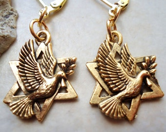 Star of David Dangle earrings.Peace Dove.Metal plate in 24 karat Gold.Silver.Drop Earring.Judaica.Hanukkah. Bat-Mitzvah.Gift. Handmade.