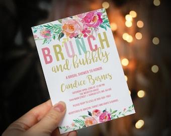 INSTANT DOWNLOAD - Colorful Brunch and Bubbly bridal shower invitation, floral bridal brunch, spring bridal shower, baby shower - OLDP450