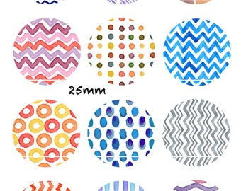 CT221 watercolor patterns 12 Images/designs/collage/Scrapbooking digital 30/25/20/18/16/15/14/12/10/8 mm cabochon round/square/oval