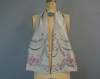Vintage Silk Brocade Neck Scarf Floral & Bow 1950s Men's or Women's
