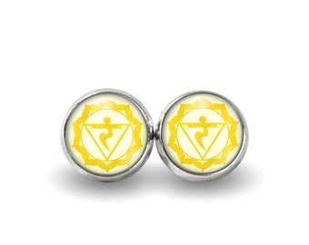 Solar Plexus Chakra Stud Earrings | Chakra Earrings Chakra Studs Boho Earrings Yoga Earrings Manipura Chakra Meditation Studs Yellow Chakra