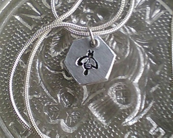 Hexagon Bee Charm Necklace - Hand Stamped Hexagon Charm Necklace - Manchester Bee -  Solidarity - In Memorial