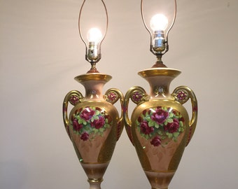 Pair of vintage lamps with roses