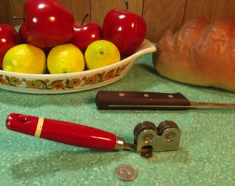 Antique Ekco Red Wood Handle w/ White Stripe Manual Knife Sharpener - Echo