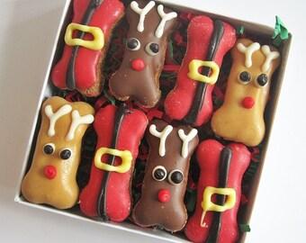 Mini Reindeer Christmas Dog Bones Box -Christmas Treats, Christmas Bones, Santa Dog Bones, Reindeer Dog Bones, Christmas Dog Bones