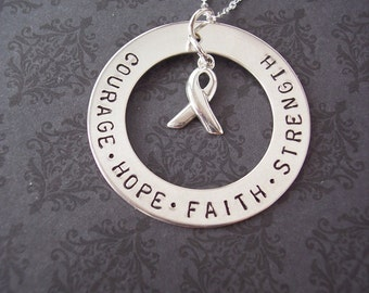 Hand stamped Courage Faith Hope Strength  necklace with AWARENESS RIBBON CHARM