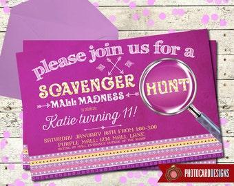 Scavenger Hunt Birthday Invitation, Mall Madness Invitation, Scavenger Hunt Invitation, Oh Snap, Party, Mall Madness, Invite, Digital