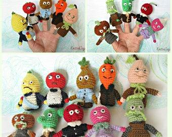 Finger puppets Crochet finger puppets Finger Toys crochet toy Crocheted Finger puppets set 10 pcs set finger puppets Crochet Cipollino