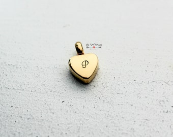 Gold Cremation Urn Charm | Hand Stamped Cremation Jewelry | Cremation Urn Heart | Memorial Jewelry | In Loving Memory | Personalized Jewelry
