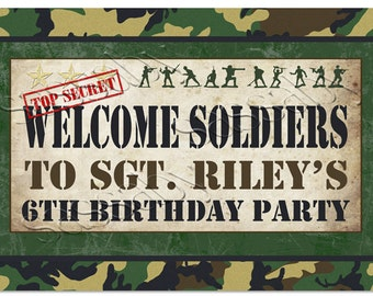 Army Men Welcome Sign - INSTANT DOWNLOAD - DIY partially Editable & Printable Party Decorations, Commando, Marines, by Sassaby Parties